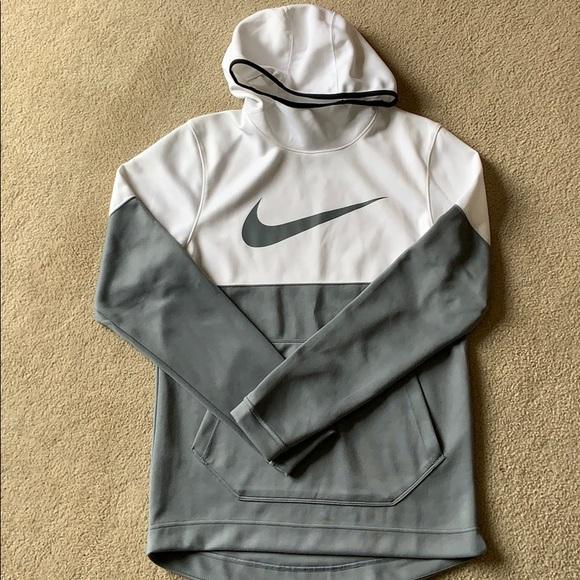 Men's Small Nike White gray Hoodie sweatshirt EUC